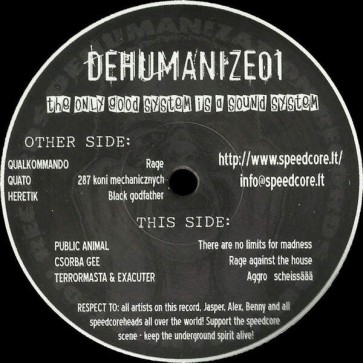 Various - The Only Good System Is A Sound System - Dehumanization Records - DEHUMANIZE01